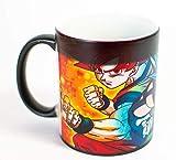 Taza Magica Dragon Ball + Llavero de madera (Goku Vegeta SSJ BLUE)