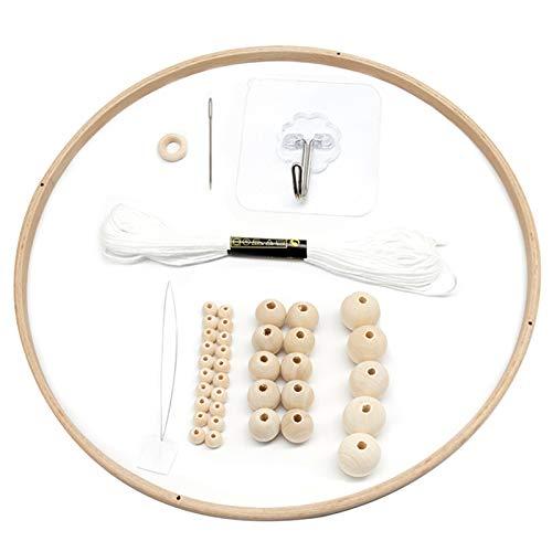 41 piezas DIY marco móvil de madera, cuentas de madera, campanillas de viento, decoración del hogar marco cuna regalo para bebé campanillas de viento cuna móvil