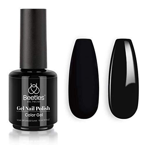 Beetles Gel Nail Polish, 1 Pcs 15ml Audrey Black Color Soak Off Gel Polish Nail Art Manicure Salon DIY at Home