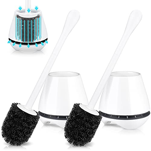 uptronic Toilet Brush and Holder 2 Pack, Toilet Brush with Ventilated Holder, Toilet Bowl Brush with Long and Large Handle for Bathroom-Toilet-Cleaning-Bristles-Comfortable