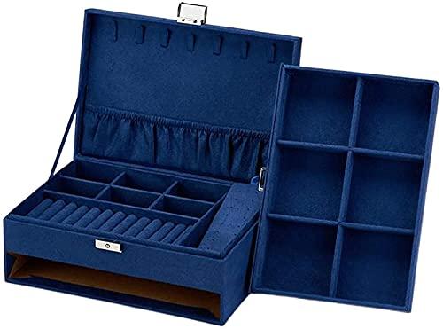 N\A Green Blue Velvet Box Storage Anello Display Display Organizer Portatile per collane (Style : Blue)
