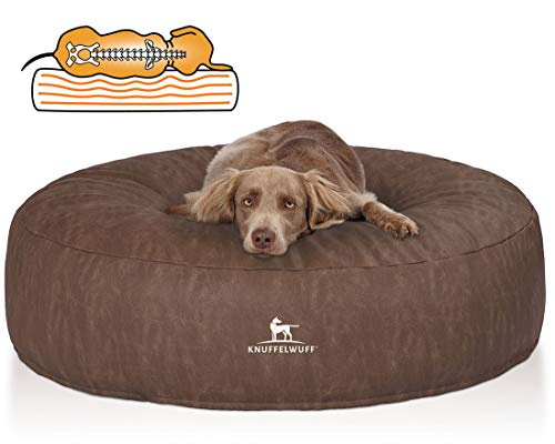 Knuffelwuff Orthopädisches Hundebett grosse Hunde XXL Little Mountain rund aus Kunstleder 120cm Braun