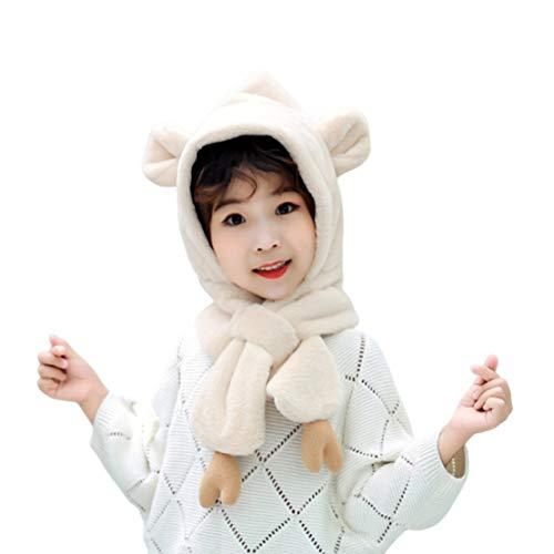 HIOD Niñas Niños Invierno Cálido Sombrero - Sombrero Bufanda 2 en 1, Súper Suave y Cómodo para Niño de 3-10 Años,White