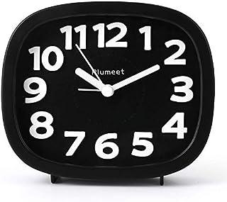 Plumeet Analog väckarklocka med 3D-numerisk, tyst, icke-tickande, bakgrundsbelysning och snooze-funktion, enkel att ställa...