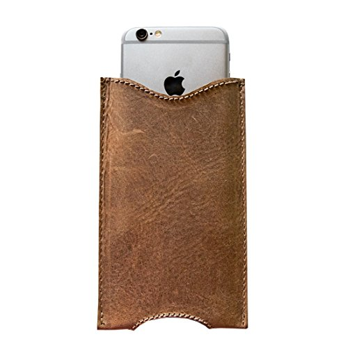 Hide & Drink, Rustic Leather iPhone 6 Sleeve Handmade Includes 101 Year Warranty :: Bourbon Brown