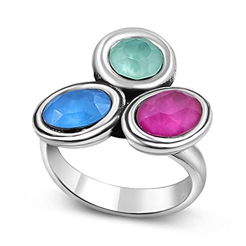 Joyas Passo ® Anillo de plata para mujer con tres cristales tallados en distintos colores. Modelo de anillo ajustable desde la talla 12 a la 19. El anillo Pixpun se entrega con una caja de regalo.