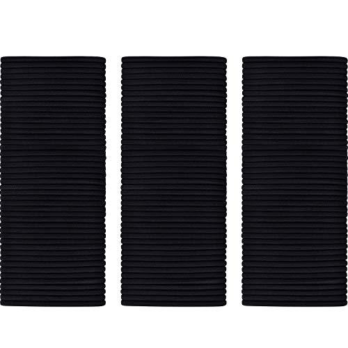 200 Pack No-metal Hair Elastics Hair Ties Ponytail Holders Hair Bands Bulk (3 mm, Black)