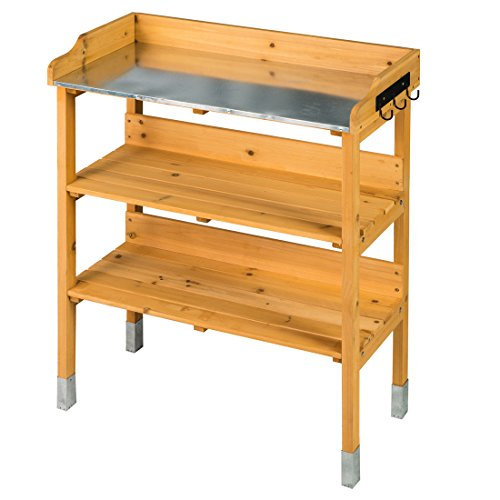 GOOD LIFE Garden Planting Wooden Potting Benches Outdoor Work Station Table W/ Hook Easy to Assemble Nature Color LNG376