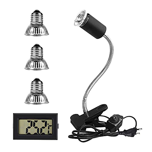 Furado Lámpara para Tortuga, Lámpara de Calor Para Reptiles y Terrarios, Portalámparas de Calefacción, 3 Bombillas de Diferente Potencia y 1 Termómetro