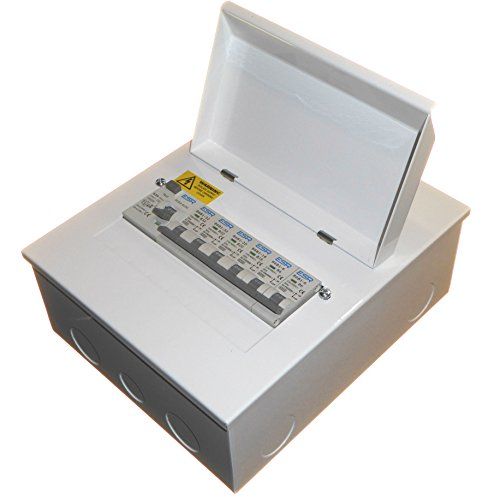Metal 6 Way Consumer Unit with 63 Amp 30mA RCD Trip Switch and 6X MCB 2X 6A 1x 16A 1x 20A 2X 32A Amendment 3