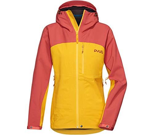 PYUA Damen Gorge Jacke, Dark Rose-Pumkin Yellow
