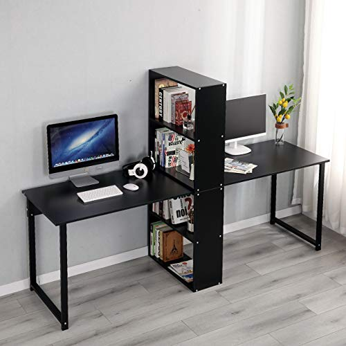 78 inch Computer Desk with Book Shelf for 2 Person
