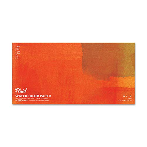 Fluid Watercolor Paper 880612 140LB Cold Press 6 x 12 Block, 15 Sheets