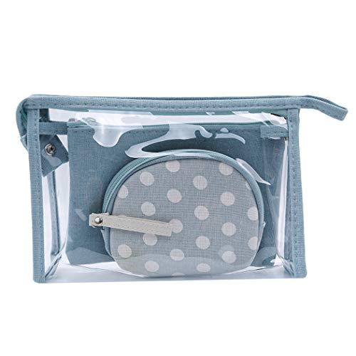 SEVENHOPE 3Pcs Sacs à CosméTiques Transparents ImperméAbles Pour Femmes Sac De Maquillage Portatif Trousse De Toilette ImpriméE (Bleu Ciel)