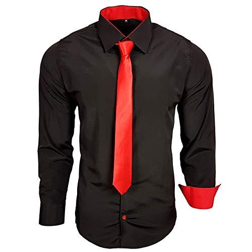 Camisa de la marca Rusty Neal R-44-KR, con corbata. Ideal para negocios, bodas y tiempo libre. Ajustada negro y rojo L