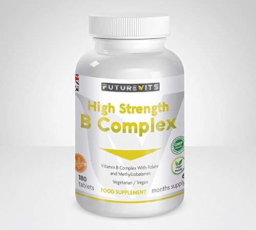 Vitamin B Complex 180 Tablets 6 Month Supply Contains 8 B Vitamins in 1 Tablet, Vitamins B1, B2, B3, B5, B6, B12, Biotin & Folic Acid High Strength Vegan & Gluten Friendly Made UK Futurevits