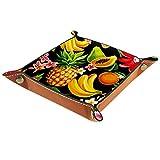 AITAI Bandeja de valet de cuero vegano organizador de mesita de noche placa de almacenamiento para frutas, piña, dragón, papaya, plátano, negro