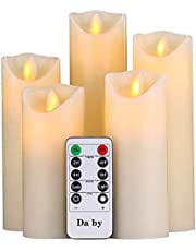 Da by Velas LED, 5 Llama LED Parpadeante (14cm, 15cm, 16cm, 18cm, 20cm), Vela sin Llama de 300 Horas y Control Remoto de 10 Botones.[Clase de eficiencia energética A]