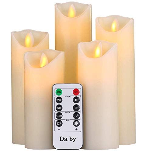 Da by Flameless Candles 5' 6' 7' 8' 9' Set of 5 Realistic Dancing LED Flickering Wick for Parties,Home,Public Elegant Events, Battery Powered, 10-Key Remote Control, Ivory Color.