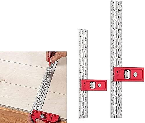 Combinación de ingenieros cuadrados de ingenieros cuadrados cuadrados de carpintería cuadrada de acero inoxidable de acero inoxidable Grado de regla de ángulo recto con herramienta de medición...