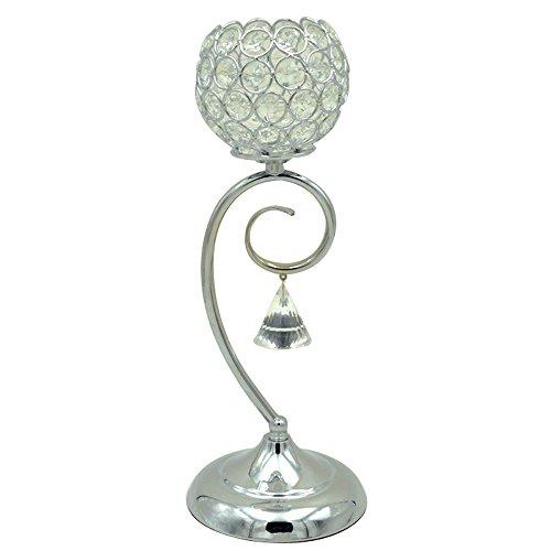 XGMSD Creativo Metallo Crystal Ball Candeliere Alte 36 Centimetri 10cm 13 Centimetri Di Diametro Base Argento.
