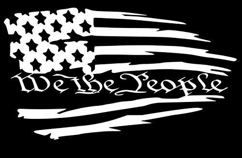 UR Impressions MWht Tattered American Flag - We The People Decal Vinyl Sticker Graphics Car Truck SUV Van Wall Window Laptop|Matte White|7.5 X 4.2 Inch|URI611