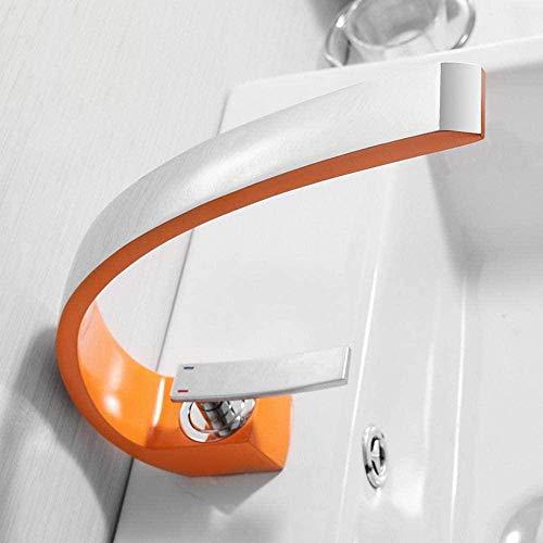 Grifos de lavabo, grifo mezclador de baño moderno, grifo de lavabo de latón, grifo de una manija de un solo orificio, grifo de cascada naranja