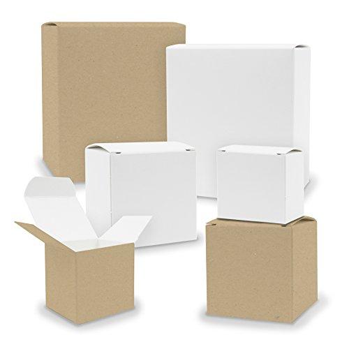 itenga, calendario dell'Avvento in scatole V3, con 24 cubi quadrati misti, colore: bianco/marrone, scatole per fai-da-te