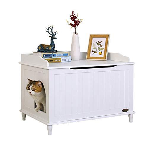 ZCY Caja De Arena para Gatos, Gato Baño Almacenamiento Banco De Madera Recinto Mueble Caja Casa con Mesa, con Basura Tary Y Alfombra para Mascotas (Color : White)