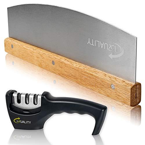 IQUALITY Set di tagliapizza con affilacoltelli (taglierino) in acciaio inox per un taglio rapido e uniforme | Set di tagliapizza + affilacoltelli (32 cm)