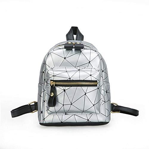 JNML Mini Bolso con Forma de Diamante PU Cuero Bolso de Escuela Bolso de Hombro Mochila para Mujer Moda, Plata