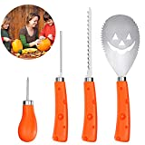 BESTonZON 4 Pack Pumpkin Carving Kit - Heavy Duty Stainless Steel Pumpkin Carving Tools for Kids and...