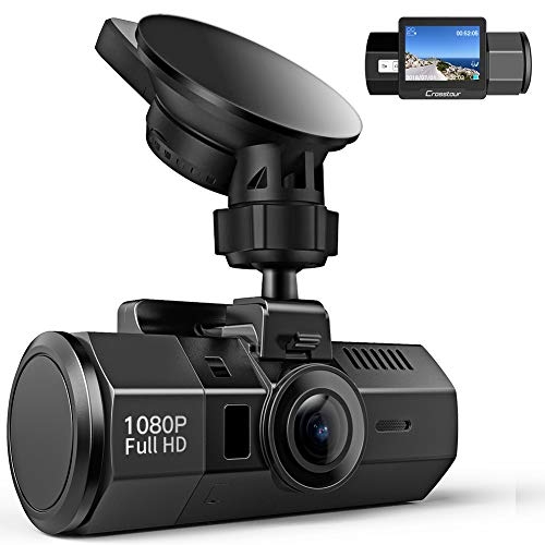 Crosstour Mini Dashcam Camra Embarque pour Voiture 1080P Full HD 170Grand-Angle 2 LCD avec HDR Capteur de Gravit, Dtection de Mouvement et Vision Nocturne CR700