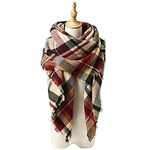 VOVTT Europa Und Die Vereinigten Staaten Herbst Und Winter Nachahmung Kaschmir Erhöhen Doppelseitige Farbe Gitter Quadrat Handtuch Langen Schal Schrecken Warmen Schal