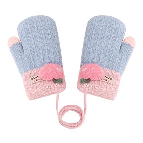 Süße Fäustlinge Baby 1 2 3 jahr Cartoon Handschuhe Skihandschuhe mit Schnur Arbeitshandschuhe kinder Fingerhandschuhe Kinderhandschuhe Fausthandschuh Jungen Mädchen Winter Warme Strickhandschuhe