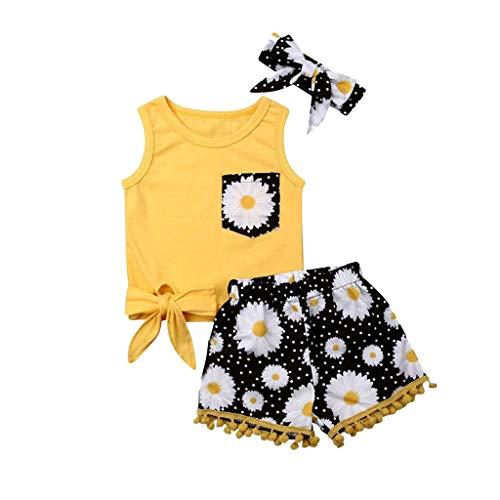 Tenue de vêtements pour bébé Nouveau-né bébé Filles vêtements, Body Barboteuse et Short imprimé Fleur et Bandeau