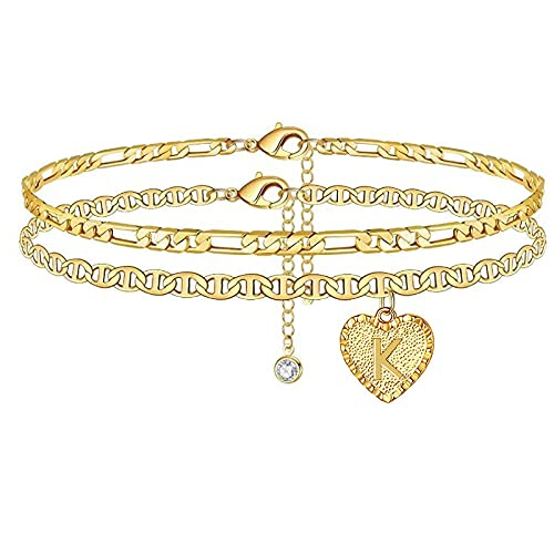 YFZCLYZAXET Jewellery Bracelets Bangle For Womens Heart Bracelet Anklet For Women Golden Zircon Letter Accessories Leg Bracelet Gift Jewelry-K