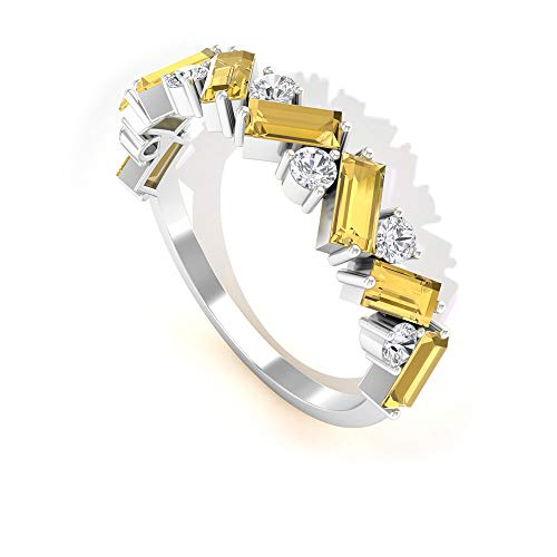 Rosec Jewels 18k Color blanco y dorado. Runde Baguette amarillo Diamond Citrine