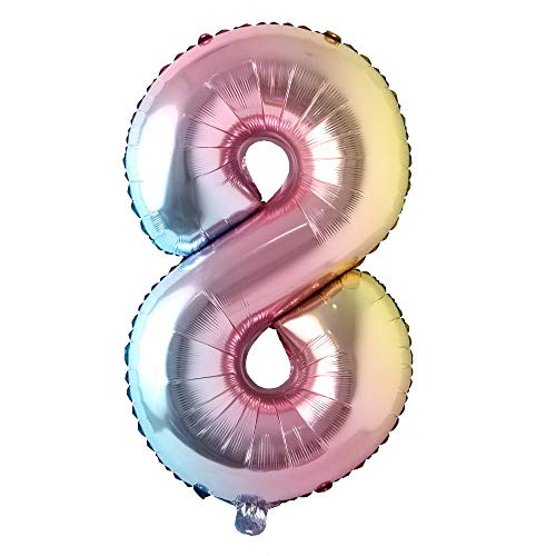 40 inch Rainbow Gradient Colorful Big Size Number Foil Helium Balloons Birthday Party Celebration Decoration Large globos (40 inch Rainbow 8)