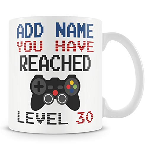 Retro Gamer Personalised You Have Reached Level 30 Mug for 30th Birthday