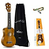ADM Beginner Ukulele 21 Inch Soprano Kids Starter Pack Bundle with Gig Bag and Straps, Mocha