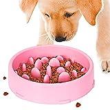 ZONSUSE Comedero Perro Gato,Tazón de Fuente del Doméstico Alimentador del perro Lento Abajo Comiendo,Bebedero Cuenco, Lento Abajo Comiendo, Antideslizante, Interactivo Bol para Perro de Mascota (Rosa)