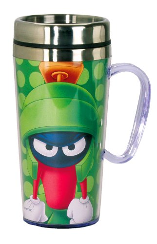 Spoontiques - Insulated Travel Mug - Marvin The Martian Coffee Cup - Coffee Lovers Gift - Funny Coffee Mug - 15 oz - Green
