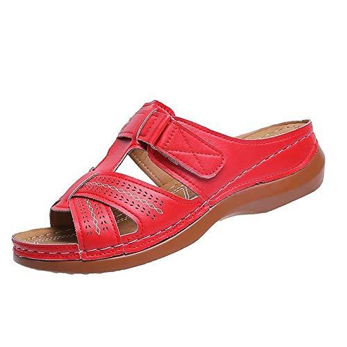 TTCS Sandalias De Punta Abierta De Ajustable Mujer Cuña Zapatos De Boca El Material Es Suave Y Duradero,Hermoso Y Cómodo De Llevar,Red,40