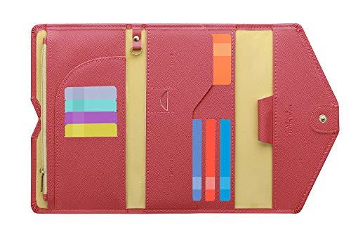 Zoppen RFID Blocker Reisepasshülle (Ver.4) Passport Hülle Halter dreifach Dokumente Organizer (#33 Pfirsichblüte)
