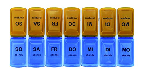 Pillendose Pillenbox Blau (Abends) / orange (Morgens) Tablettenbox Medi Box Medikamenten Dosierer 7 Tage Original Tiga-Med Qualität 1Stück