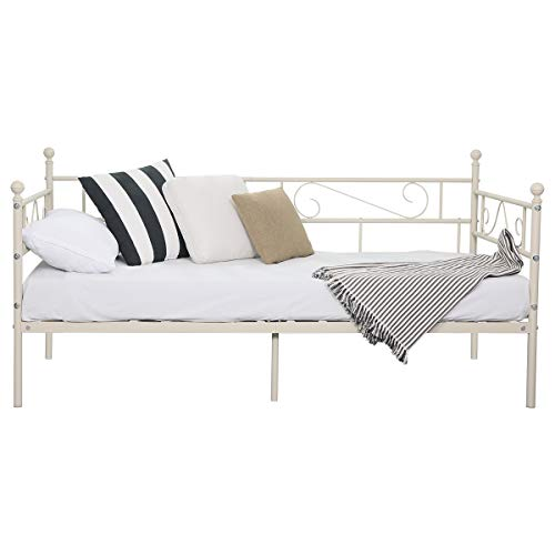 Aingoo Metal Single Day Bed Frame Guest Sofa Bed Daybeds for Living Room Bed Room Frosted Beige