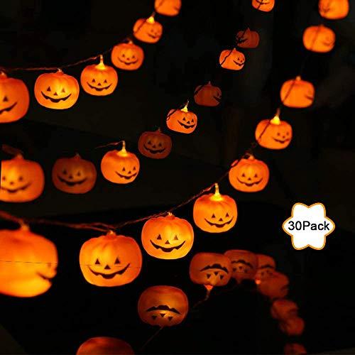 Xnuoyo - Cuerda de Lámpara de Calabaza de Halloween, 3 Pilas AA Alimentadas con 30 Luces LED de Calabaza a Prueba de Agua, Perfecta para Decoración de Fiestas de Navidad