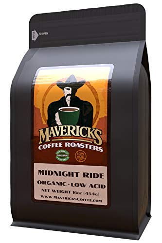 Mavericks Low Acid Coffee - Midnight Ride Blend - Organic Coffee Ground 16 oz - Bold and Smooth Dark Roast with 90% Less Acid - Safe for GERD and Keto Diets