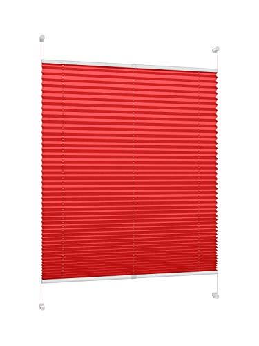DecoProfi, Tenda plissettata, rossa, con morsetto/fissaggio a clip/montaggio senza viti, disponibile in diverse dimensioni, Tessuto, rosso, 60 cm x 220 cm (BxH)